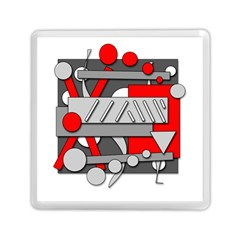 Gray And Red Geometrical Design Memory Card Reader (square)  by Valentinaart
