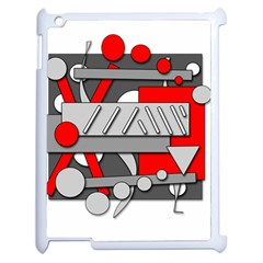 Gray And Red Geometrical Design Apple Ipad 2 Case (white) by Valentinaart