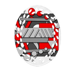 Gray And Red Geometrical Design Oval Filigree Ornament (2 Side)  by Valentinaart