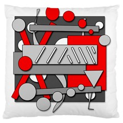 Gray And Red Geometrical Design Large Cushion Case (two Sides) by Valentinaart