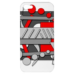 Gray And Red Geometrical Design Apple Iphone 5 Hardshell Case by Valentinaart