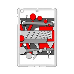 Gray And Red Geometrical Design Ipad Mini 2 Enamel Coated Cases