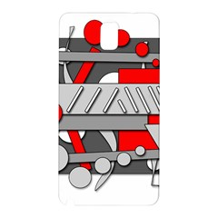 Gray And Red Geometrical Design Samsung Galaxy Note 3 N9005 Hardshell Back Case by Valentinaart