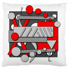 Gray And Red Geometrical Design Large Flano Cushion Case (two Sides)