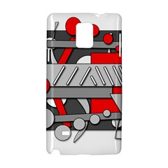 Gray And Red Geometrical Design Samsung Galaxy Note 4 Hardshell Case by Valentinaart
