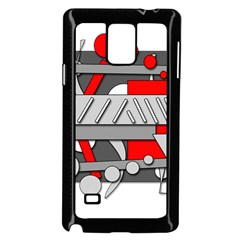 Gray And Red Geometrical Design Samsung Galaxy Note 4 Case (black) by Valentinaart