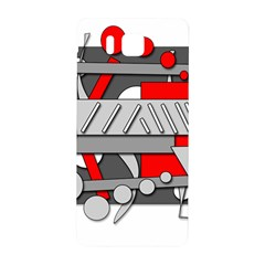 Gray And Red Geometrical Design Samsung Galaxy Alpha Hardshell Back Case by Valentinaart