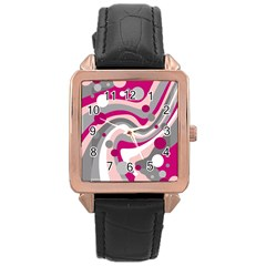 Magenta, Pink And Gray Design Rose Gold Leather Watch  by Valentinaart
