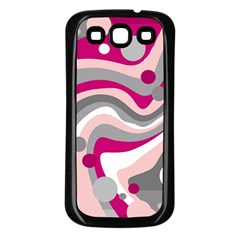 Magenta, Pink And Gray Design Samsung Galaxy S3 Back Case (black)