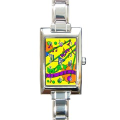 Music Rectangle Italian Charm Watch by Valentinaart