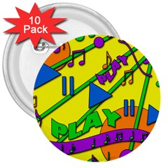 Music 3  Buttons (10 Pack)  by Valentinaart