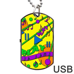 Music Dog Tag Usb Flash (two Sides)  by Valentinaart