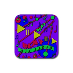 Music 2 Rubber Square Coaster (4 Pack)  by Valentinaart