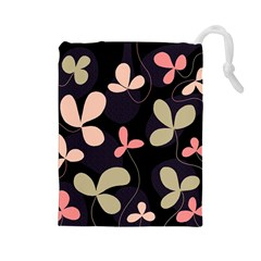 Elegant Floral Design Drawstring Pouches (large)