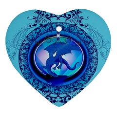 The Blue Dragpn On A Round Button With Floral Elements Ornament (heart)