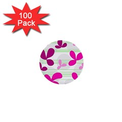 Magenta Floral Pattern 1  Mini Buttons (100 Pack)  by Valentinaart