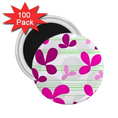 Magenta Floral Pattern 2 25  Magnets (100 Pack)  by Valentinaart