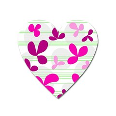 Magenta Floral Pattern Heart Magnet by Valentinaart