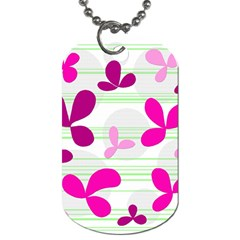 Magenta Floral Pattern Dog Tag (two Sides) by Valentinaart