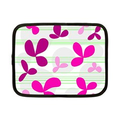Magenta Floral Pattern Netbook Case (small)  by Valentinaart
