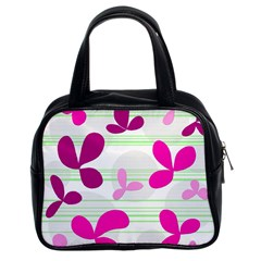 Magenta Floral Pattern Classic Handbags (2 Sides) by Valentinaart