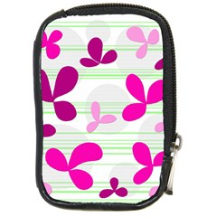 Magenta Floral Pattern Compact Camera Cases by Valentinaart