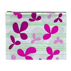 Magenta Floral Pattern Cosmetic Bag (xl) by Valentinaart