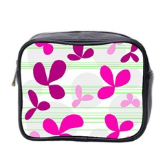 Magenta Floral Pattern Mini Toiletries Bag 2 Side
