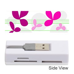 Magenta Floral Pattern Memory Card Reader (stick)  by Valentinaart