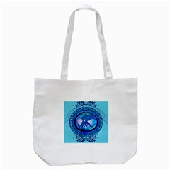 The Blue Dragpn On A Round Button With Floral Elements Tote Bag (white) by FantasyWorld7