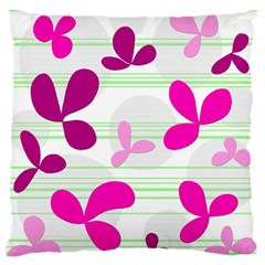 Magenta Floral Pattern Large Cushion Case (two Sides) by Valentinaart