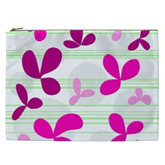 Magenta Floral Pattern Cosmetic Bag (xxl)  by Valentinaart