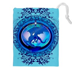 The Blue Dragpn On A Round Button With Floral Elements Drawstring Pouches (xxl) by FantasyWorld7