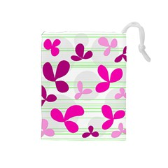 Magenta Floral Pattern Drawstring Pouches (medium)