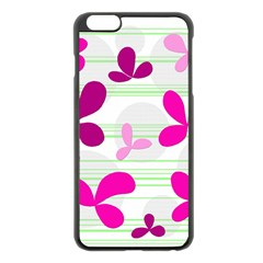 Magenta Floral Pattern Apple Iphone 6 Plus/6s Plus Black Enamel Case by Valentinaart