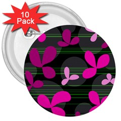 Magenta Floral Design 3  Buttons (10 Pack)  by Valentinaart