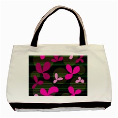 Magenta Floral Design Basic Tote Bag (two Sides) by Valentinaart