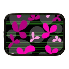 Magenta Floral Design Netbook Case (medium)  by Valentinaart