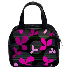 Magenta Floral Design Classic Handbags (2 Sides) by Valentinaart
