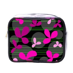 Magenta Floral Design Mini Toiletries Bags by Valentinaart
