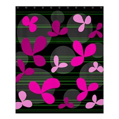 Magenta Floral Design Shower Curtain 60  X 72  (medium)