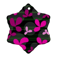 Magenta Floral Design Ornament (snowflake)  by Valentinaart
