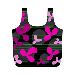 Magenta Floral Design Full Print Recycle Bags (m)  by Valentinaart