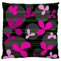 Magenta Floral Design Standard Flano Cushion Case (one Side) by Valentinaart