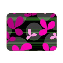 Magenta Floral Design Double Sided Flano Blanket (mini)  by Valentinaart