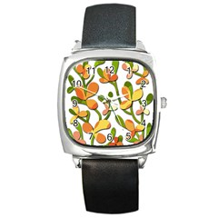 Decorative Floral Tree Square Metal Watch by Valentinaart