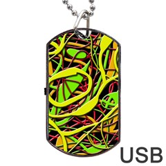 Snake Bush Dog Tag Usb Flash (two Sides)  by Valentinaart