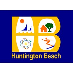 Flag Of Huntington Beach, California Birthday Cake 3d Greeting Card (7x5) by abbeyz71