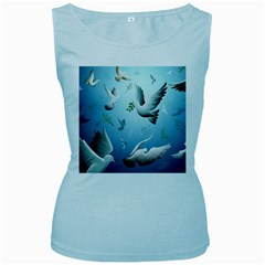 Animated Nature Wallpaper Animated Bird Women s Baby Blue Tank Top by AnjaniArt