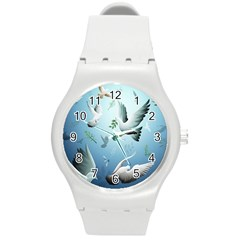 Animated Nature Wallpaper Animated Bird Round Plastic Sport Watch (m) by AnjaniArt